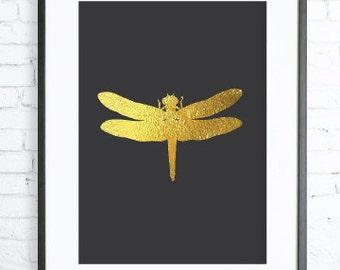Gold Art, Gold Decor, Instant Download, Gold Dragonfly Print,  Print Art,  modern art, digital art, Print, Dragonfly art, Dragonfly  print
