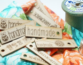 "Wooden hang tags ""handmade "" assorted styles Set of  10"