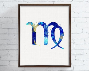Virgo Zodiac, Virgo Watercolor Print, Virgo Art Print, Virgo Gifts, Birthday Gift, Astrology Art, Zodiac Watercolor, Zodiac Sign, Virgo Sign