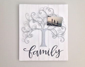 Photo display board family tree family sign baby shower gift shabby chic sign farmhouse decor housewarming new parent gift Mother's Day gift