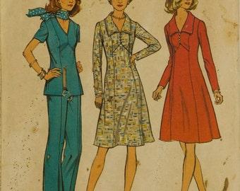 Simplicity 6557 Dress Sewing Pattern Dress / Top / Pants Bust 38 Look Slimmer pattern Princess seams Back zipper pants V neckline Complete