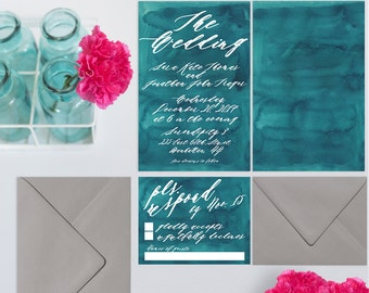 Watercolor Wedding Invitations - CUSTOM LISTING for Deborah