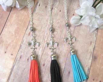 Fleur de lis Tassel Necklace, Fleur de lis Necklace, Fleur de lis Jewelry, New Orleans Jewelry, Louisiana Jewelry
