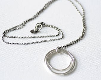 Three circle sterling silver minimalist necklace, Tri-circle pendant long necklace