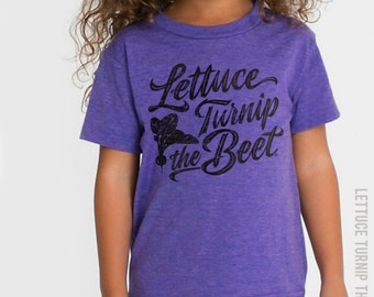 SALE lettuce turnip the beet ® trademark brand OFFICIAL SITE - purple track t shirt with cursive logo - farmers market, funny, dance, ballet