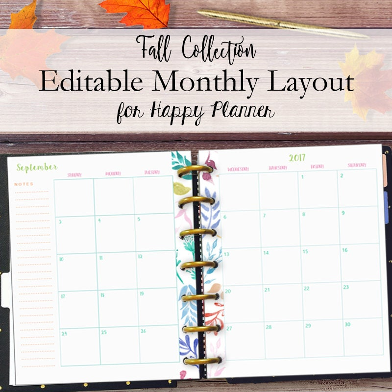 This is an image of Modest Happy Planner Monthly Layout Printable