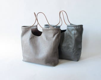 Hand made leather Gwen tote with cord handle simple basic modern handbag silver leather taupe leather commuter tote leather purse