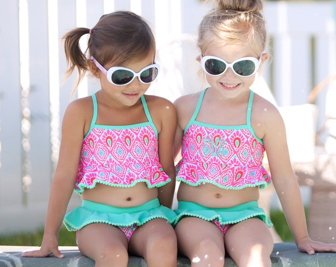Monogrammed Swimsuit, Kids Swimsuit, Monogram Swimsuit for Girls, Toddler swimsuit, Monogrammed Swimsuit