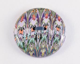 Polymer Clay Button (1), Round, 3 cm, Purple