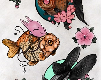 Fancy goldfish tattoo print