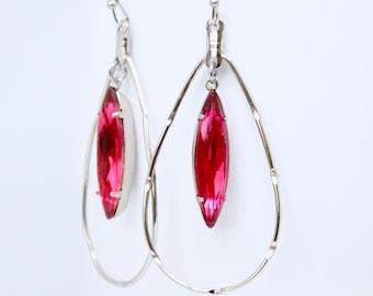 Fuschia Hoop Earrings, Hot Pink Swarovski Crystal Earrings, Antique Silver Hoop Earrings, Teardrop Hoop Earrings, Navette Earrings