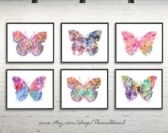 Butterfly print, butterfly art, watercolor butterflies painting, girl nursery art, watrcolor art print set of 6  - S45