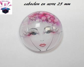 1 cabochon clear 25 mm round woman flowers theme