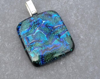 Emerald Green and Blue Dichroic Pendant