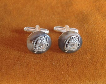 RALPH LAUREN Button Silver Color Horse Head Hand Crafted Cufflink set