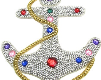 """Anchor Applique, Silver Beaded with Gem Stones ,  10"""" x 8.5"""" -JJ780Sil-347-320"""