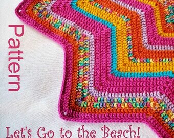 PDF Pattern Crocheted 12-Pointed Star Blanket Let's Go to the Beach Fuchsia and Turquoise Design