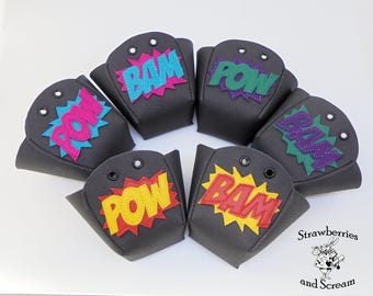 Black Leather Roller Derby Skate Toe Guards with POW and BAM
