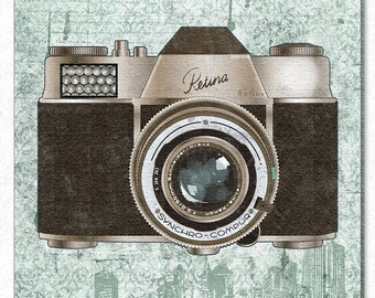 Vintage camera art on canvas