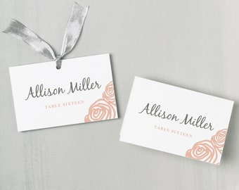 Printable Place Card Template | INSTANT DOWNLOAD | Roses | Escort Card | Editable Colors | Mac or PC | Word & Pages | Flat or Folded