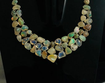 925 Sterling Silver Opal Necklace