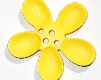 2 buttons 40mm yellow Orchid flowers