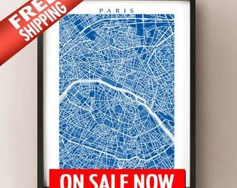 Paris Map Print - Vertical/Portrait Layout