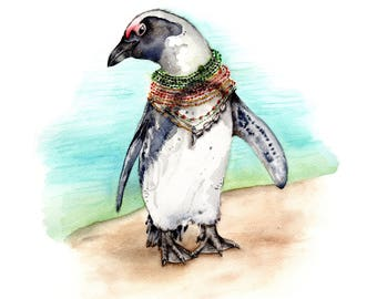 South African Penguin on the Beach - Fine Art Print of Original Watercolor - moving travel South Africa Art summer birds vacation