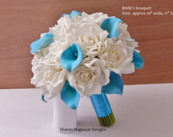 Aqua/turquoise/malibu/blue, ivory/white, bouquet, Real Touch flowers, silk, rose/roses, calla lily, lilies, Bride, Groom, wedding, set