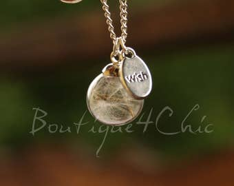 Real dandelion wish necklace, real flower necklace