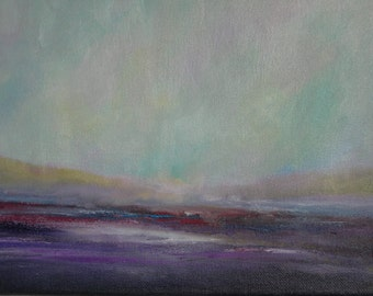 """Original Art,  Abstract Landscape, Purple, Pink """"Clouds Fallin' to Earth"""""""