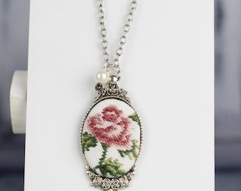 Hand embroidered necklace, cameo pendant, silver tone, pink rose embroidery