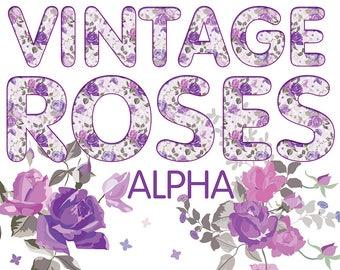 Digital Vintage Roses Alphabet, Wedding Alphabet, Violet Floral Alphabet, Digital Lettering, Printable Lettering, Instant Download, #43