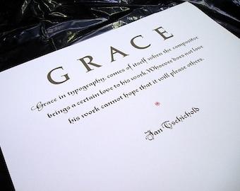 Grace In Typography by Jan Tschichold Letterpress Printed Broadside Art Print