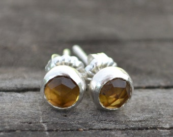 sterling silver and honey quartz stud earrings
