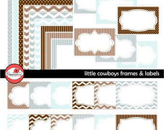 Little Cowboys Frames and Labels: Clip Art Pack Card Making Digital Frames Page Borders Chevron Dots Stripes