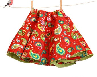 Toddler full skirt sewing pattern - reversible girls skirt pdf  pattern - sizes 6m to 9 years