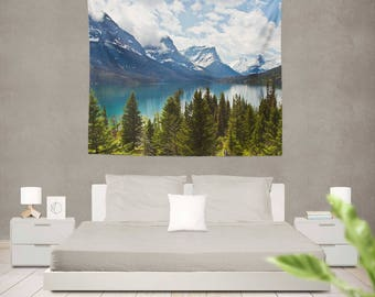 Mountains Tapestry Wall Hanging, Lake Tapestry Bedroom, Mountain Tapestry Room, Tapestry, Lake Tapestries