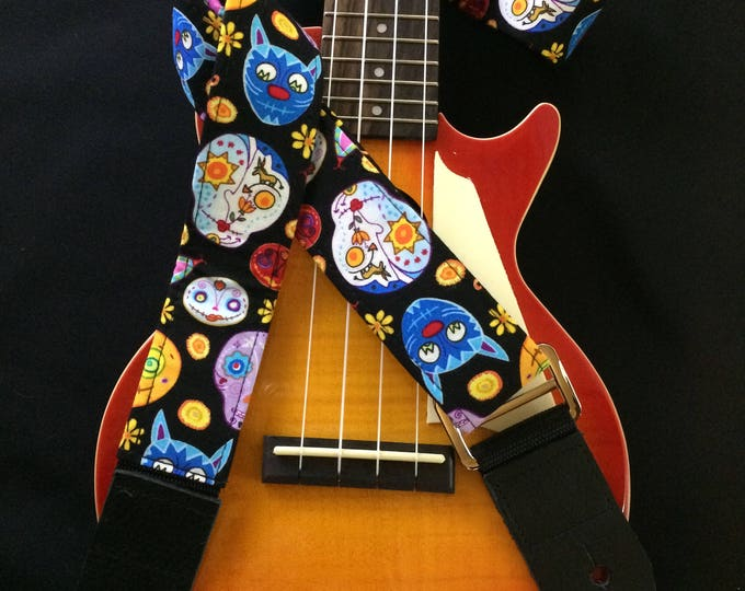 Ukulele strap, mandolin strap or child guitar strap // sugar skulls (calavera) day of the dead dia de los muertos // tween gift teenager