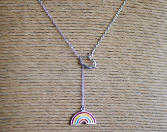 Cloud and Rainbow Lariat Sterling Silver Necklace
