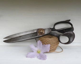 Large French vintage antique industrial scissors, industrial shears, country home, rustic home decor, vintage tools, seamstress