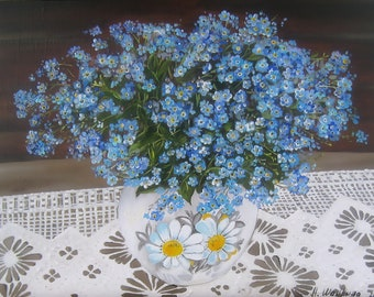 Flowers Painting Forget-me-not, Blue painting, Floral art canvas painting Original Oil Painting, small blue flowers in a vase, ready to hang