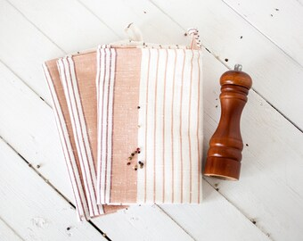 Thanksgiving dish towels, Striped kitchen towel sets, Striped linen towels, Hanging kitchen towels, Rustic tea towels