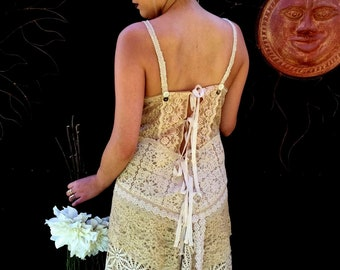 Free US Shipping, Unique Wedding Dress, Lace Slip Dress, Slip Wedding Dress, Eco Bridal, OOAK Design, Wedding