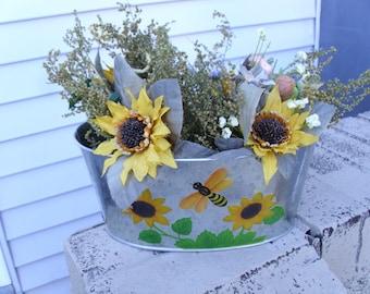 sunflower oval tin arrangement