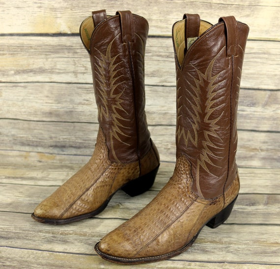 Exotic Brown Cowboy Boots Nocona Western 9 Size Vintage Mens Distressed Leather D 4q1T77xtw