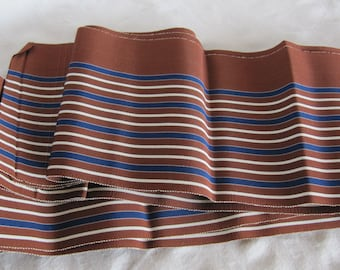 Vintage Japanese Obi Sash Belt Kimono Yukata Brown Blue White Stripes