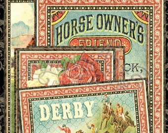Graphic 45 Off To The Races Colletions - Ephemera Journaling Cards - 32 cards