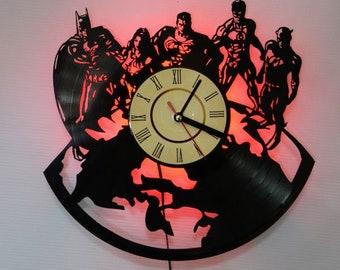 DC Comics Superheroes vinyl record wall clock, DC Comics led night light, DC Comics led lighting, Comics led light