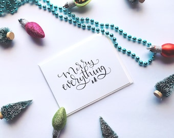 Merry Everything Holiday Card   Christmas Card   Holiday Card   Merry Everything   Greeting Card
